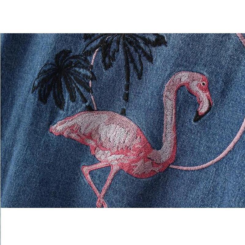 Women Jacket Flamingo Lady Coat Denim Internet Star recommend Loose Washed Embroidery Boyfriend cowboy Fashion Cool blue L19