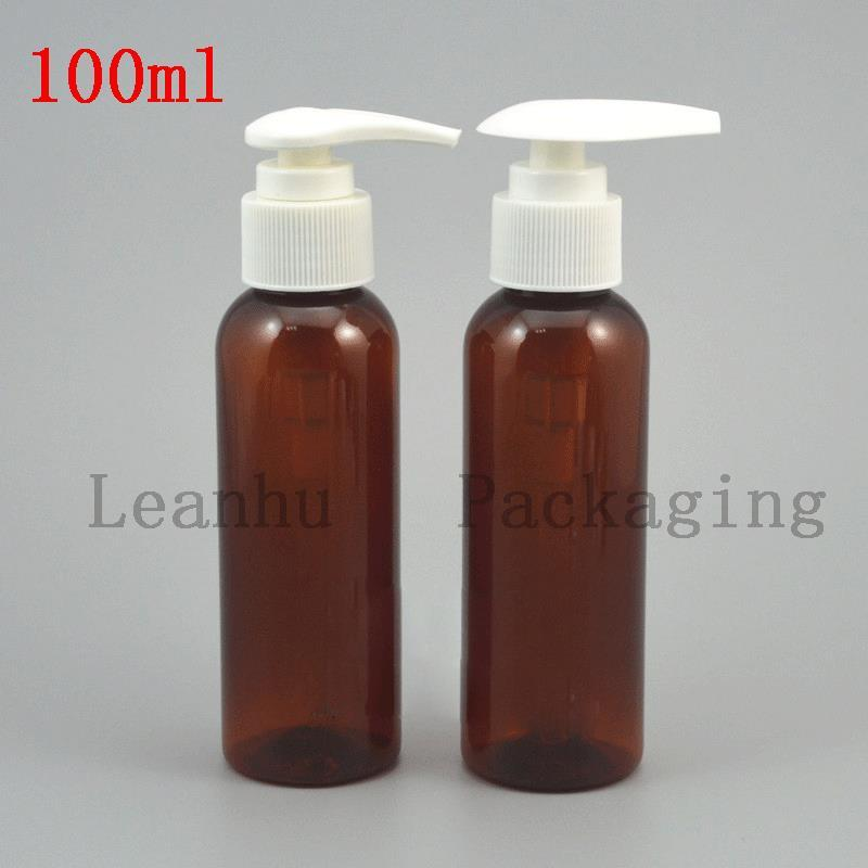 100 ml Brown Plastic Bottle With The White Pump Head of Shampoo, Shower Gel, Grind Arenaceous Cream Container Refillable Bottles