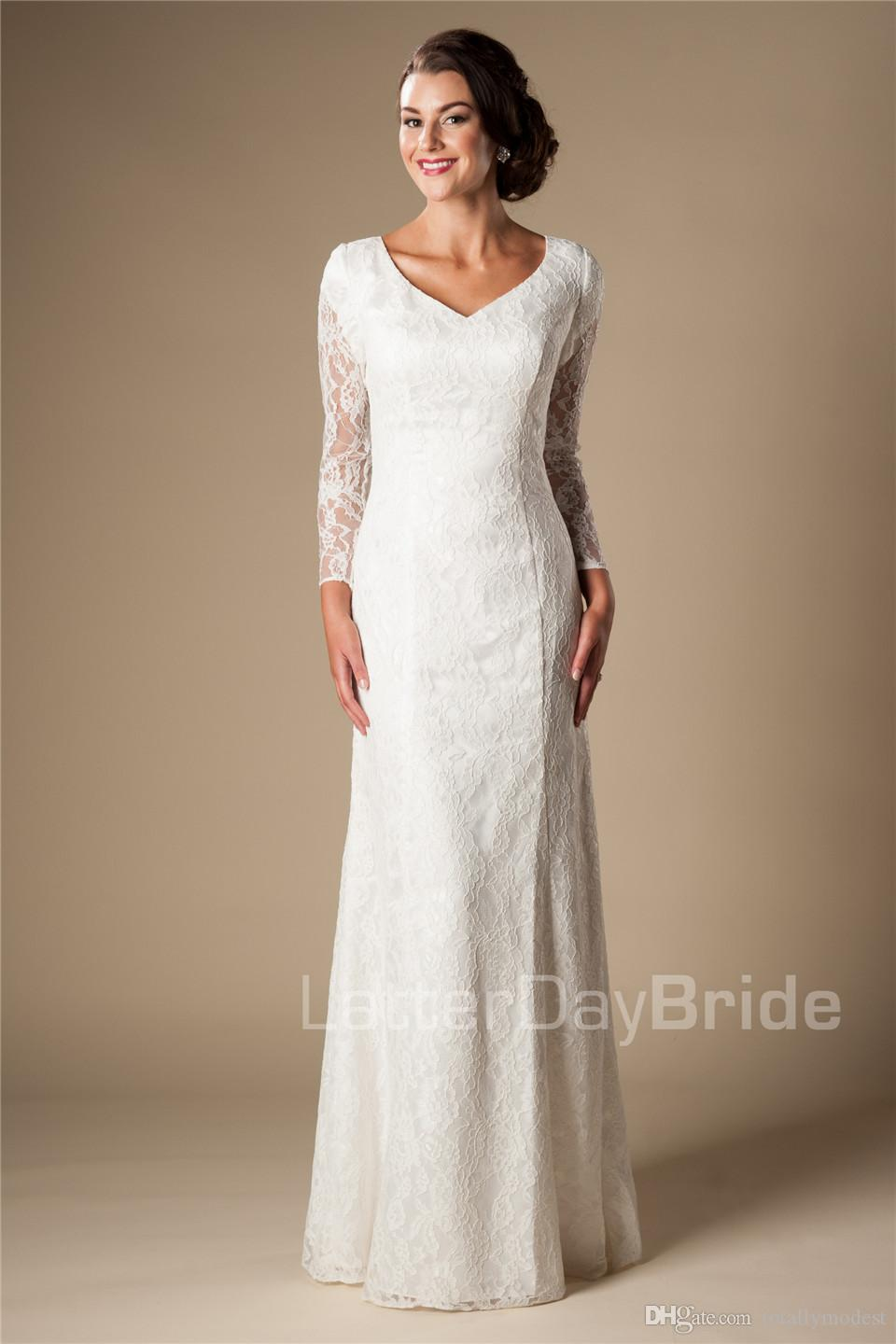 Vintage Ivory Lace Mermaid Modest Wedding Dresses With