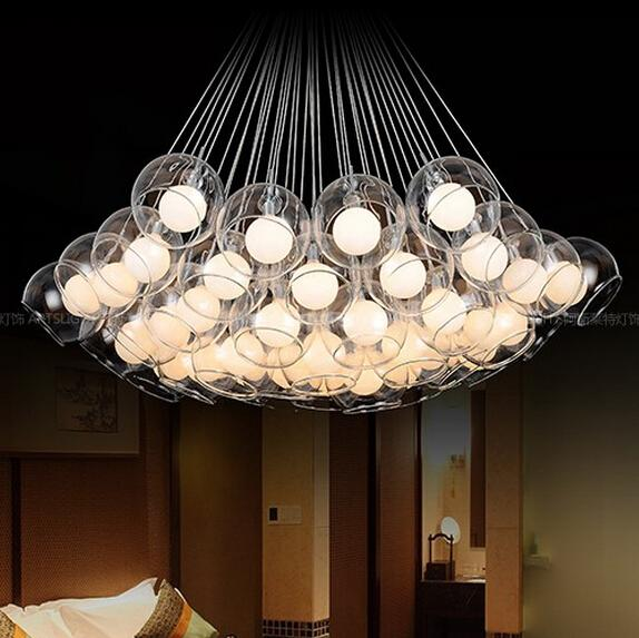 Discount Indoor Lamp Bulb Free Double Round Glass Balls Hanging ...