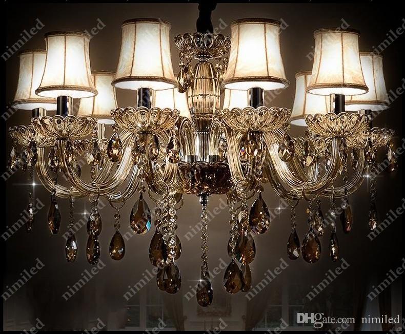 nimi683 6/8/10/12/18-Lights Traditioneller Luxus Kristall Deckenleuchte Kronleuchter Lampe Klassisches Glas Pendelleuchten Beleuchtung für Lobby Bar