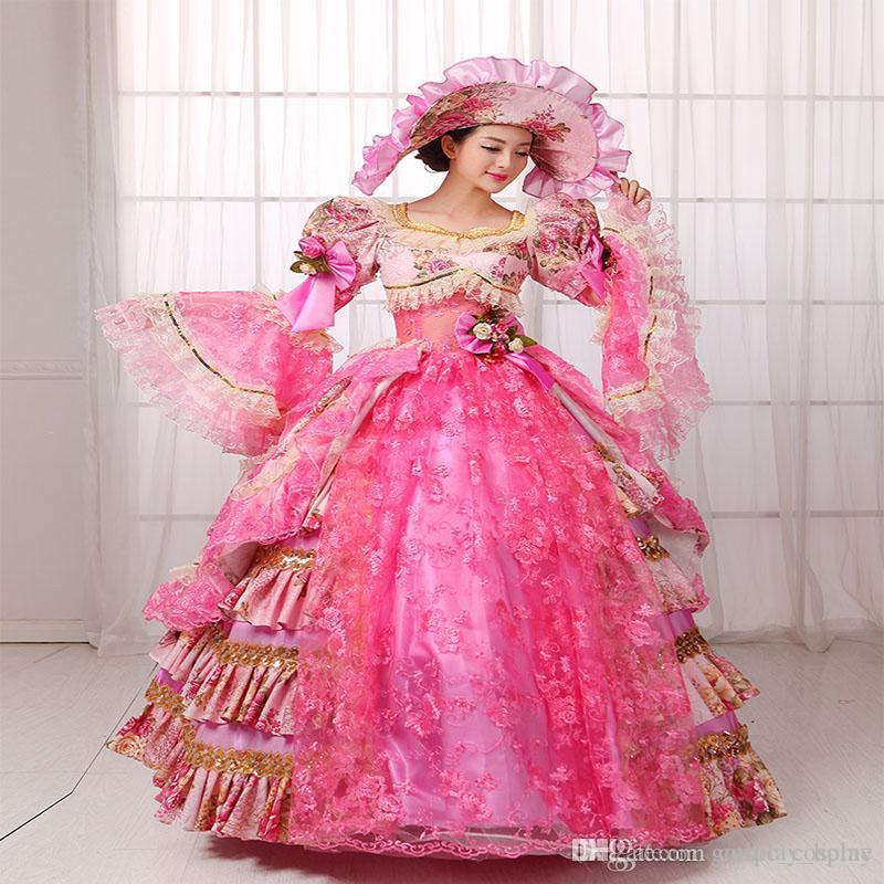 Wholesale Hot Sale Pink Floral Civil War 18th Century Marie ...