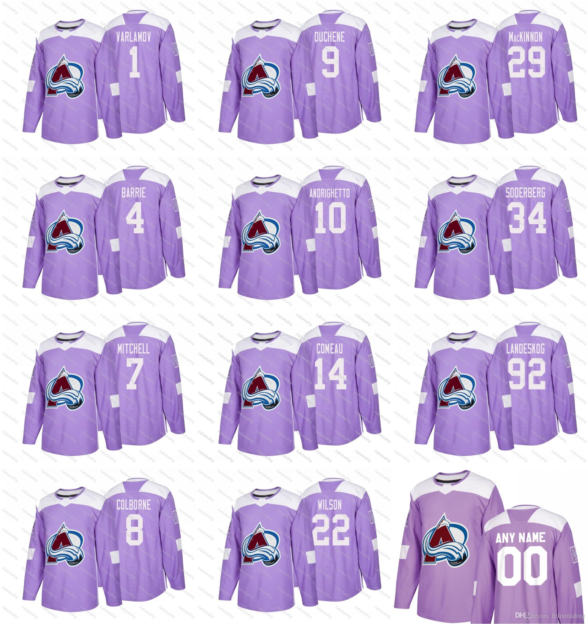 64838ca56 2018 Purple Fights Cancer Colorado Avalanche 29 Nathan MacKinno Wilson  Andrighetto Duchene Colborne Mitchell Barrie Varlamov Hockey Jerseys 2018  Purple ...