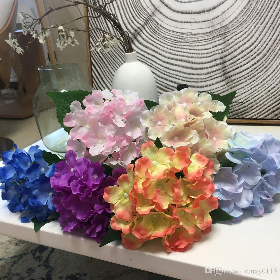 2018 Wholesale Silk Artificial Flower Hydrangea Macrophylla Handmade