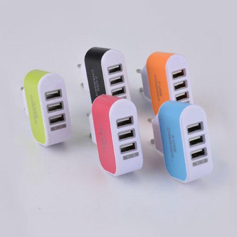 EE. UU. EU Plug 3 USB Cargadores de pared 5V 3.1A Adaptador de viaje de viaje de LED Adaptador de corriente conveniente con puertos USB triples para teléfono móvil con bolso opp