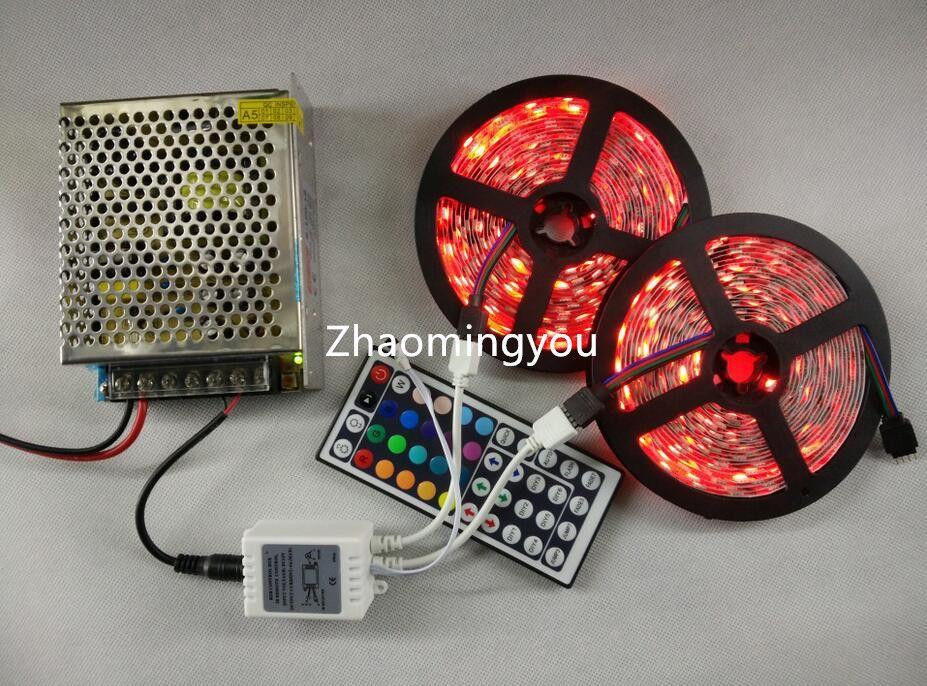 10M RGB LED Strip 5050 60LEDs / M SMD Ensemble de lumière flexible + 44 touches Télécommande IR + Transformateur d'alimentation CC 12V 10A