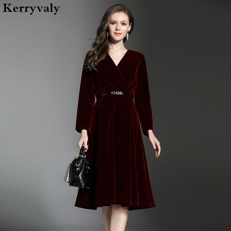Ladies Long Sleeve Velvet Dress Winter Dresses Women 2017 V Neck