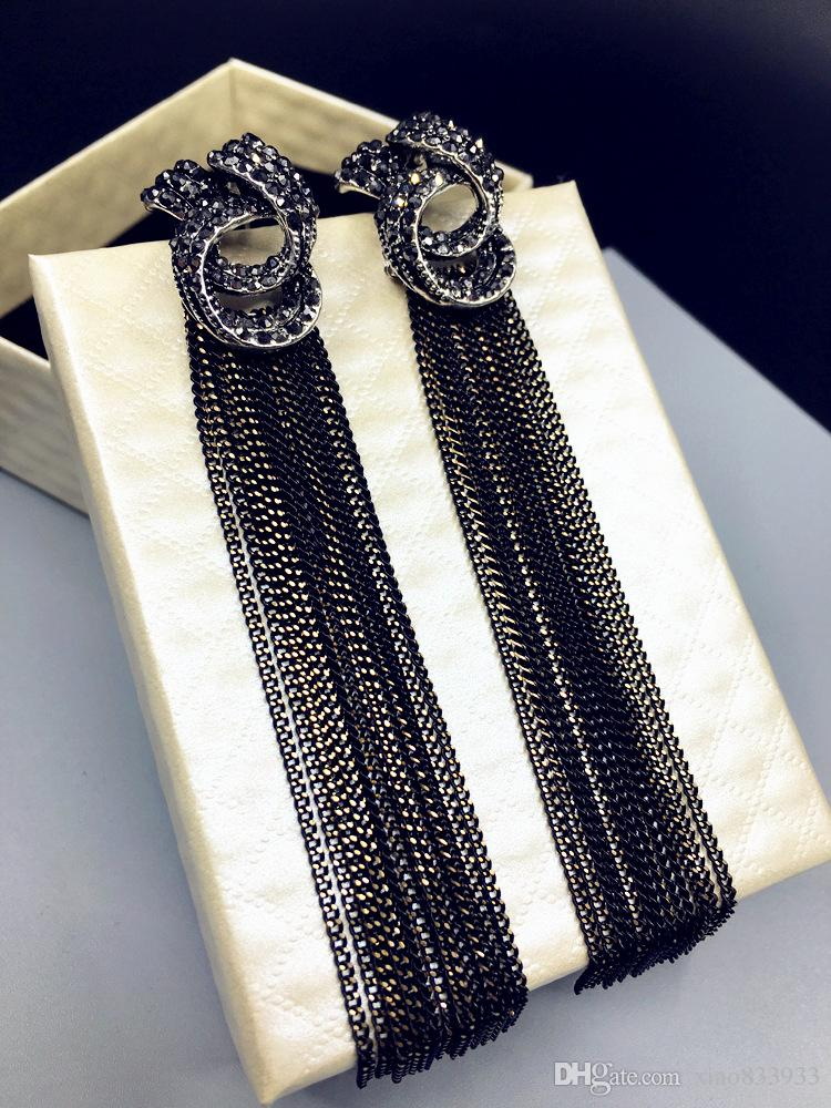 Europe and the United States long gold tassel exaggerated personality hypoallergenic stone imported high-quality Earrings