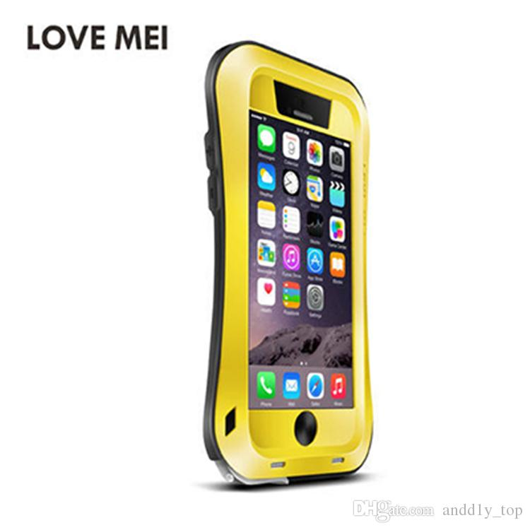 for iPhone 7/6/6S 4.7inch LOVE MEI Case Waterproof Shockproof Gorilla Glass Small Waist Aluminum Frame Bumper Hard Case Cover Skin