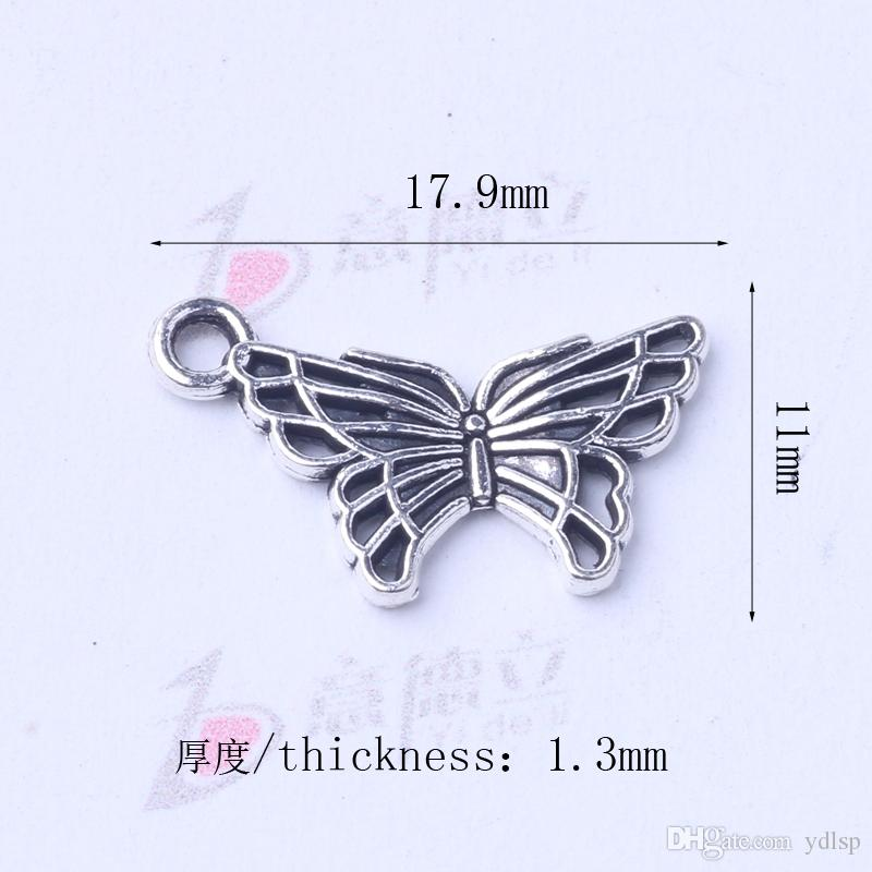 Butterfly Pendant Fit Bracelets or Necklace retro antique Silver/bronze Charms DIY Jewelry 3006z