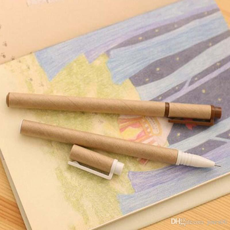 Kraft Paper Pen Environmental Friendly Recycled Paper Ball Point Pen Wholesale Writing School Office Gel Pens Papelaria
