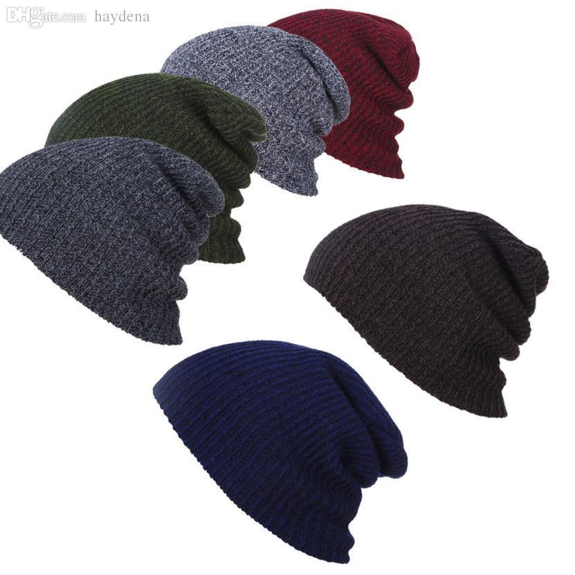 d6f22c33ad5 Wholesale Unisex Femal Men Winter Warm Hats Beanie Hat Slouchy Baggy  Knitting Wool Ski Sports Cap For Men Women