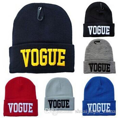 2d2c8c9a8 6 Colors VOGUE Beanies Fashion Cuffs Winter Beanie Hip-Hop Hat Gorro VOGUE  Beanies Cap Unisex Knitted Wool Cap Winter Beanies CCA6965 100pcs