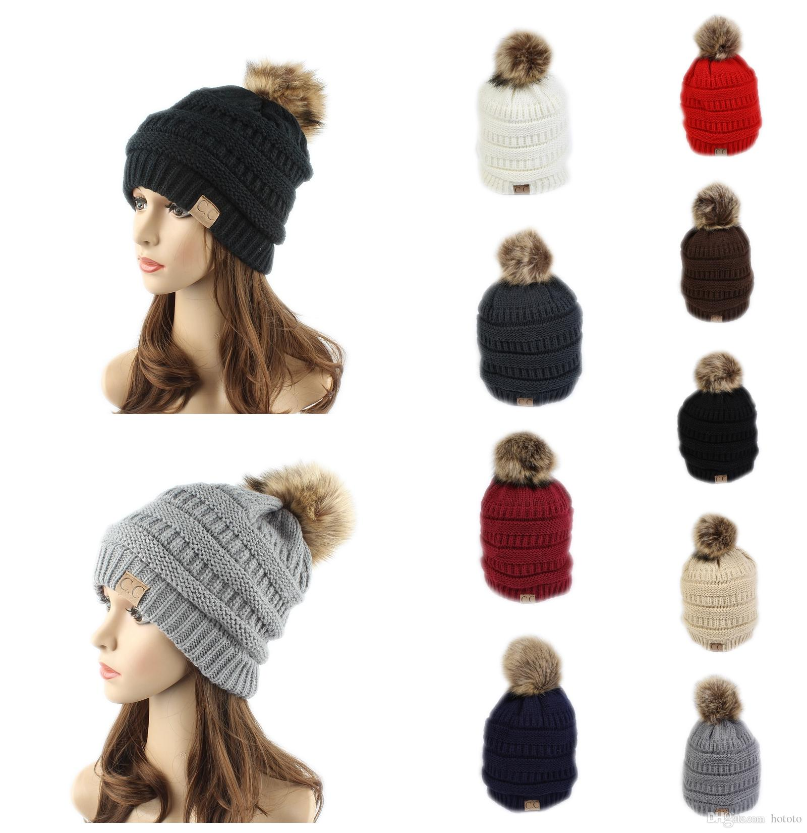 New Arrival CC Winter Thendy Warm Hats Label Fur Poms Beanie Women Men  Knitted Cable Skull Caps CC Beanie Hats Skull Caps Online with  3.84 Piece  on ... c9d5a9e3aa0a