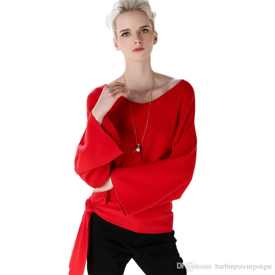 Personality Red Winter Sweater V Collar Women Fashion Knitted ...