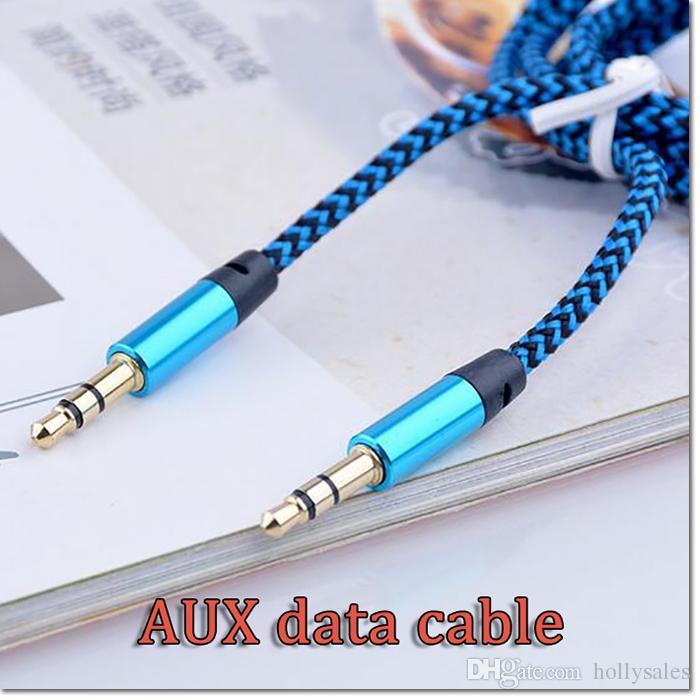 cep telefonu ve tablet için erkek için 3 ft 3,5 mm Alüminyum Ses AUX Araç İlavesi Kablo Örgülü Kablo Tel Yardımcı Stereo Erkek
