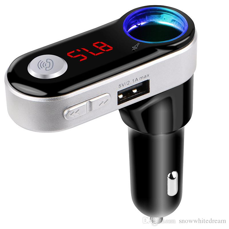 BC09B Bluetooth Car Kit Car Speakerphone BT Hands Free Dual FM Transmitter Port 5V 2A Music Player For Samsung iPhone Mobile