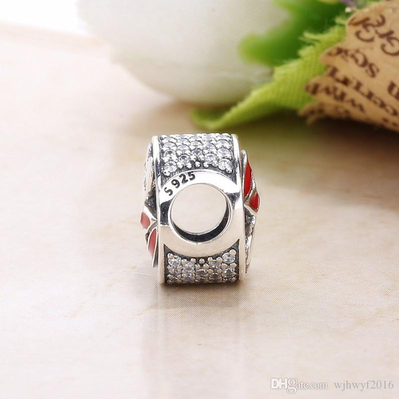 r New Authentic 925 Sterling Silver Glamour Kiss Charm, Mixed Enamel & Clear Crystal Beads Fit brand Charms Bracelet Diy Jewelry Making