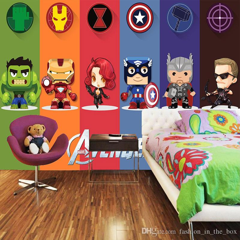 Großhandel 3D Avengers Tapete Hulk Abzeichen Wandbild Fototapete ...