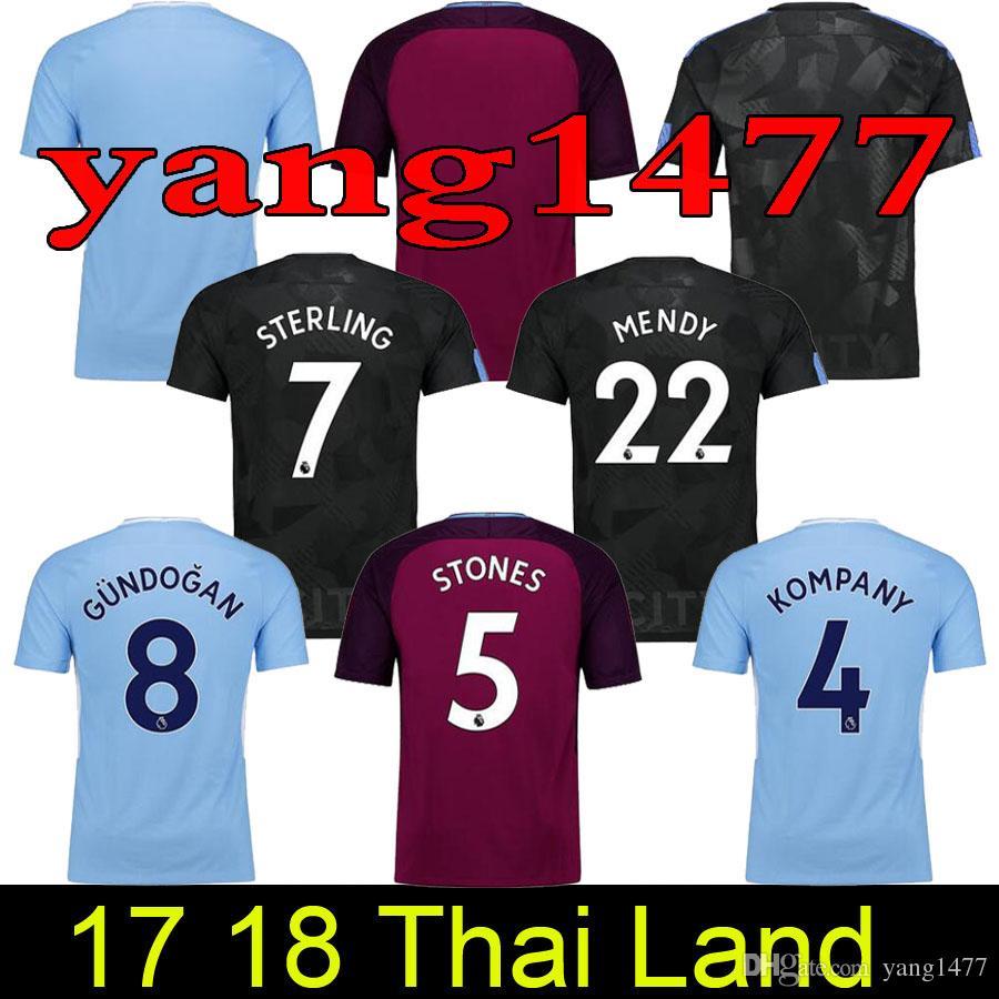 Best Quality 17 18 Man City De Bruyne Mendy Walker Soccer Jersey 2017 2018  Kun Aguero Football Shirt Jesus Silva Bernardo Camiseta Manchest Maillot At  Cheap ...