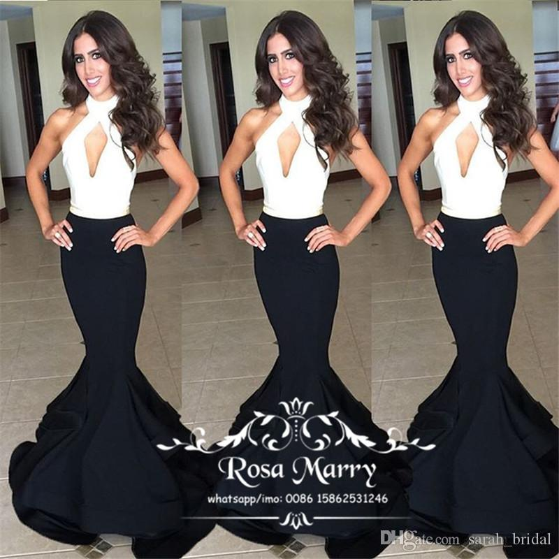 Black White Mermaid Plus Size Celebrity Evening Dresses 2018 Sexy Keyhole Ruffles African Arabic Formal Dresses Evening Wear Prom Party Gown
