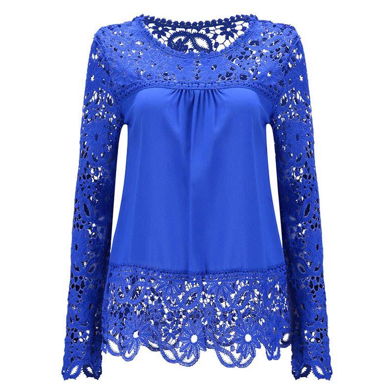 Blusa de gasa floral de manga larga para mujer Blusa de encaje blusa Mujer Ropa Talla extra S-5XL