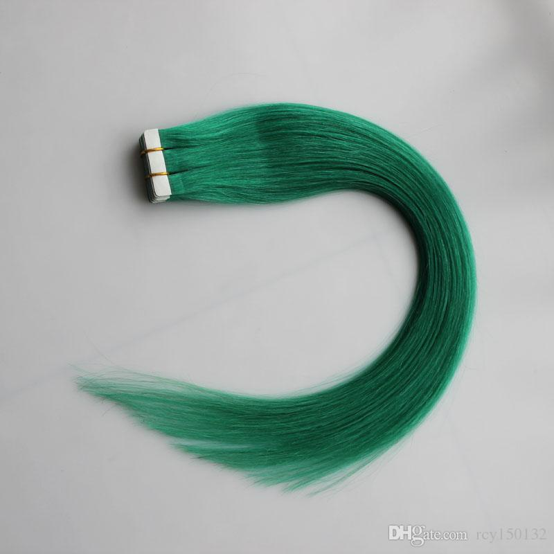 الشريط الأخضر في الشعر البشري غير ريمي البرازيلي مستقيم الشعر 30 جرام 40 جرام 50 جرام 60 جرام 70 جرام جهين الشريط الجلد لحمة الشعر ملحقات 20 قطع