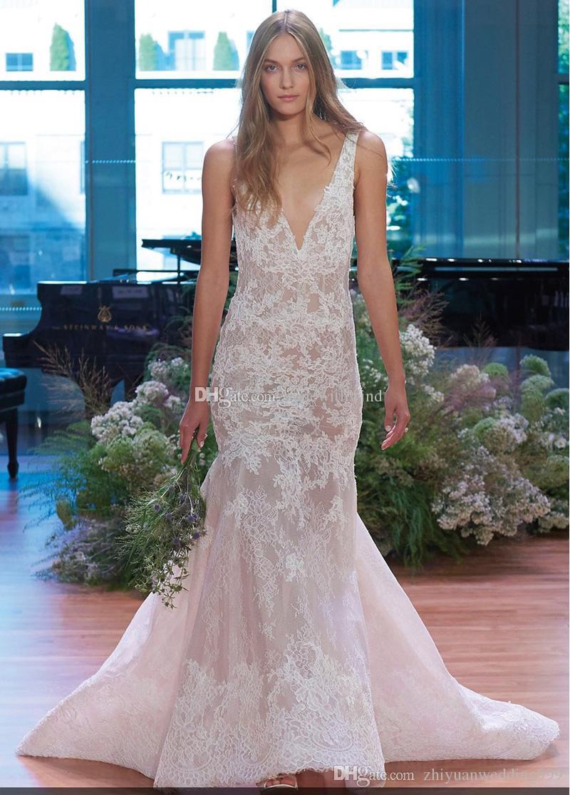 Floor Length Trumpet Skirt Sheer Lace Wedding Dresses 2017 Monique ...