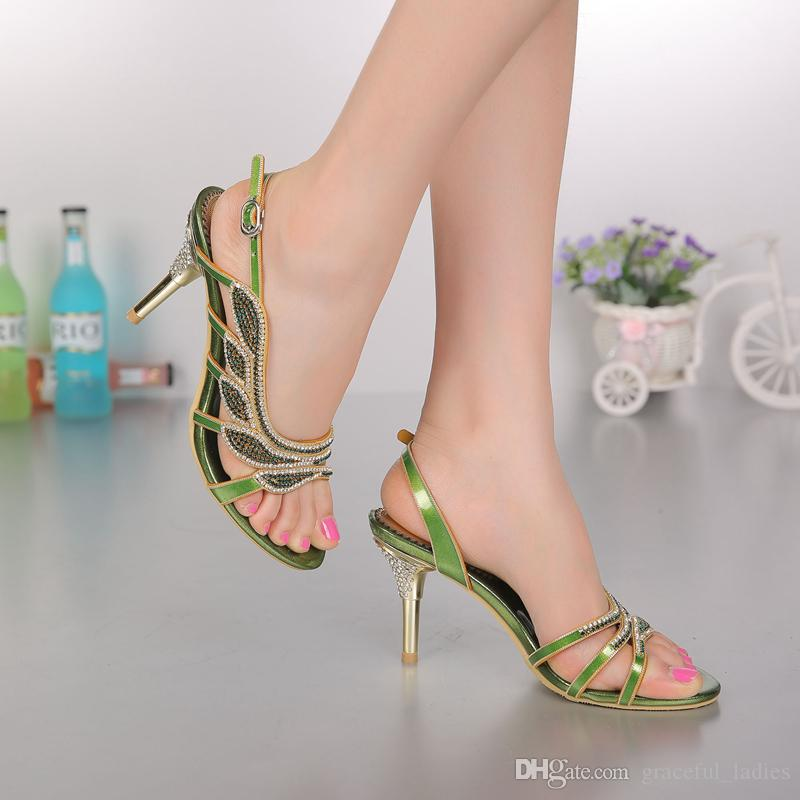 Gold Rhinestones Wedding Shoe Women Sandal Med Heels 8cm Hollow Out Crystal Wedding Party Shoes Sandals Shoes For Women Summer Sandals