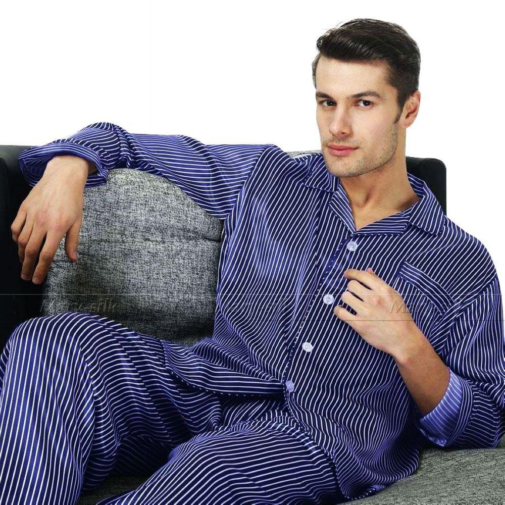 d50bbaca10 2019 Wholesale Perfect Gifts  Mens Silk Satin Pajamas Set Pajama ...