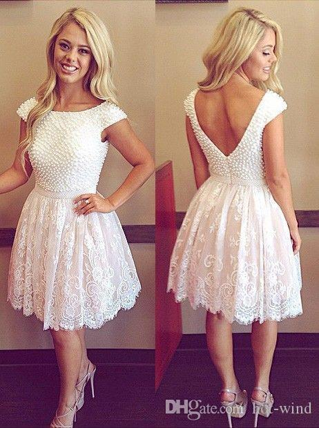 2020 Little White Cap Sleeves Junior Short Cocktail Dresses Lace Beading Pearls Knee Length Sweet 16 Cheap Sexy Backless Party Dresses