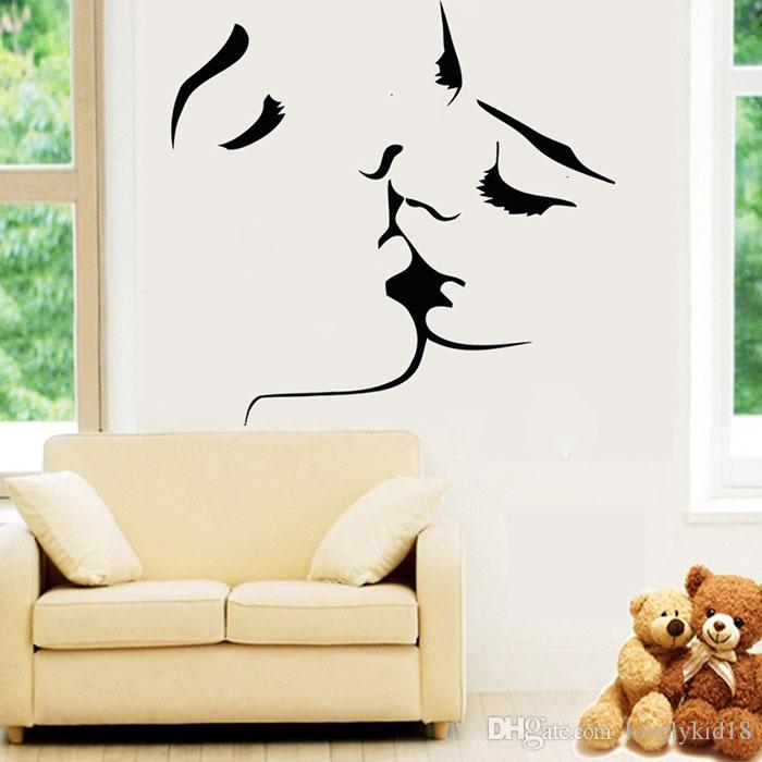 Couple Lover Kiss Wall Sticker Wedding Home Bedroom Mural - Wall decals in pakistanblack flowers removable wall stickers wall decals mural home art