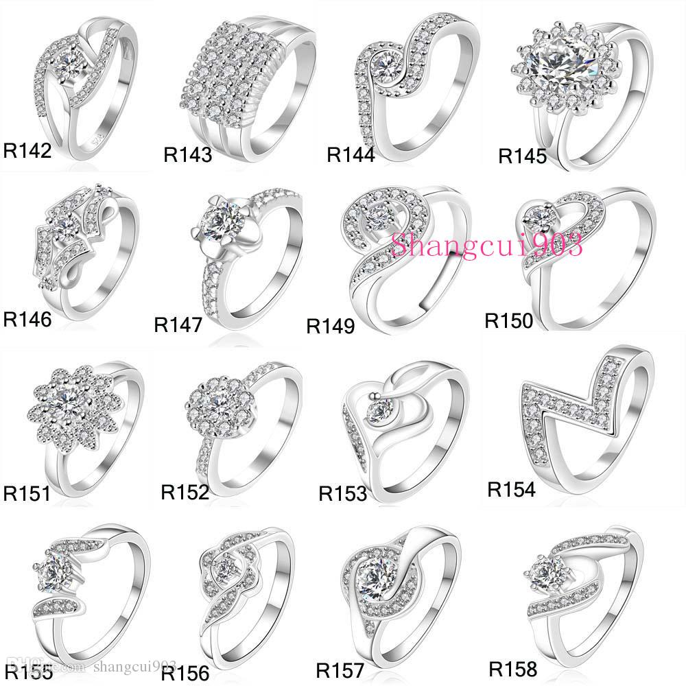 New High Qulity 23 Styles Mixed STYLES MIX SIZES 925 sterling Silver fashion charm Beautiful cute Crystal Stone Wedding ring jewelry