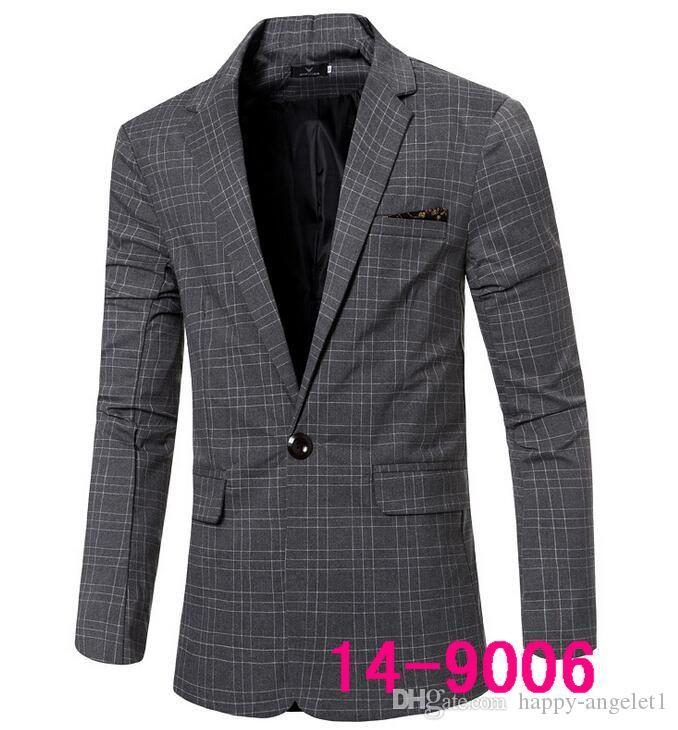 hot 2016 Winter Men Hitz Korean Slim plaid suit small suit men's casual men's jacket 9002A free shiping