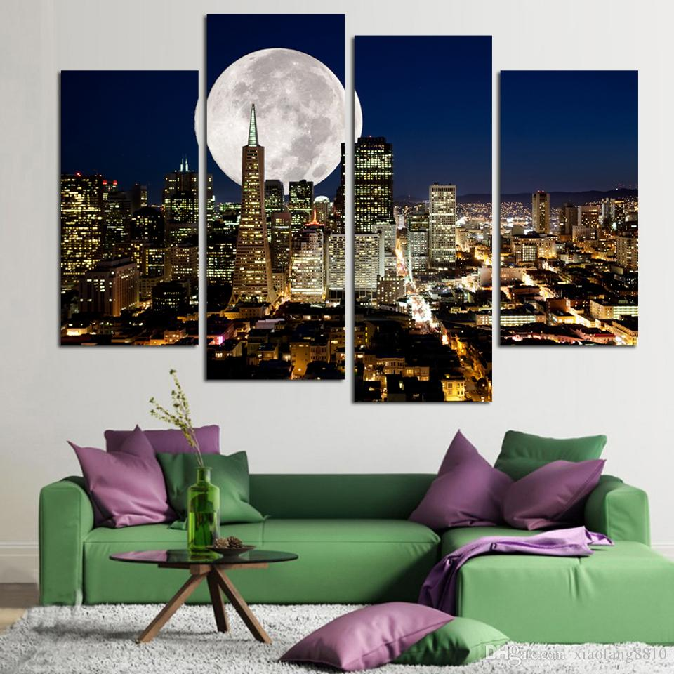 Fashion HD Large Canvas painting 4 Panels Home Decor Wall Art Picture Prints of NewYork city night view Artwork no frame