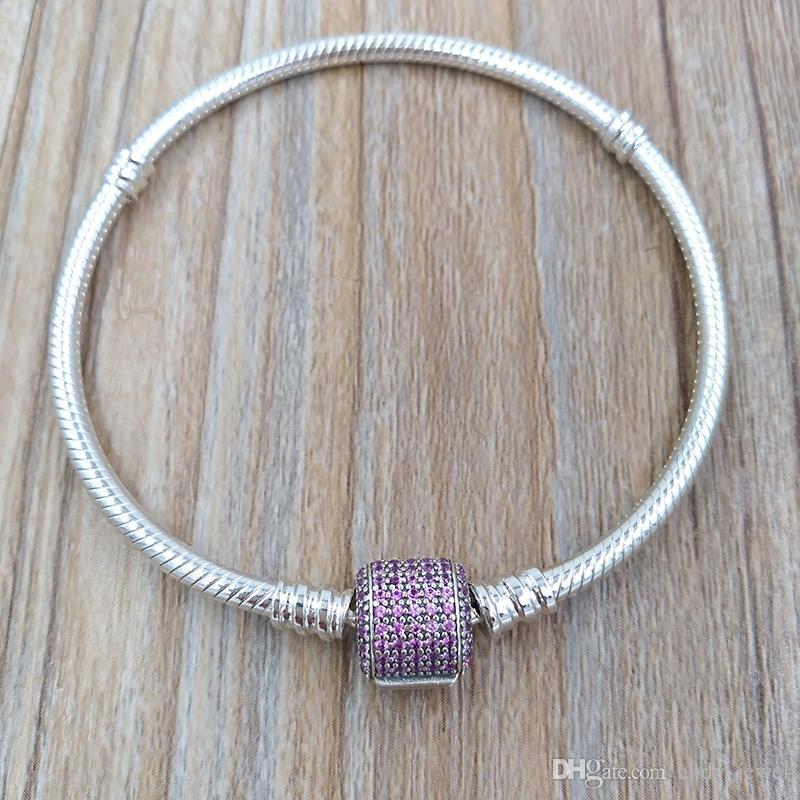 261317d26d12 Auténtica pulsera de broche de plata de ley 925 con firma, fantasía de  color rosa Cz se adapta a los encantos de la joyería de estilo Pandora ...