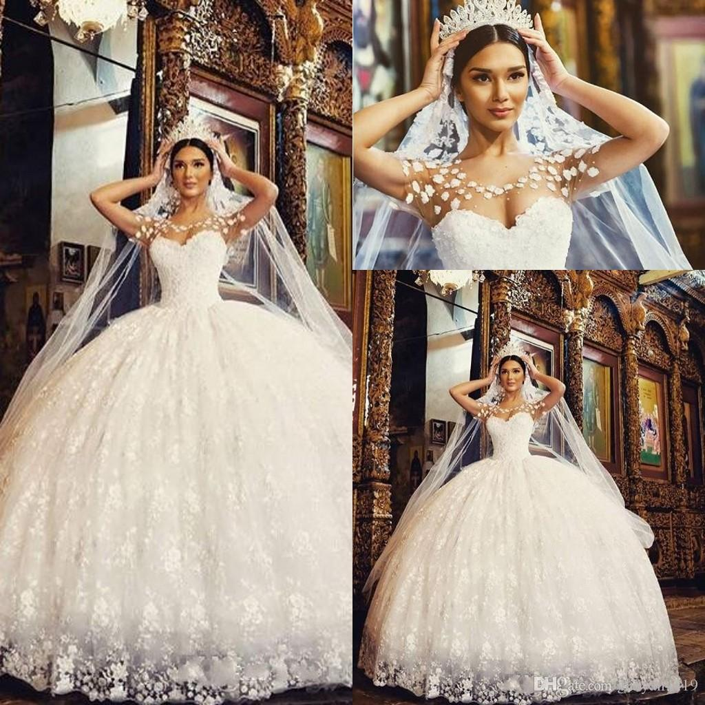 2019 New Arabic Puffy Ball Gown Wedding Dresses Full Lace Jewel Neck Illusion Short Sleeves Plus Size Robe De Soiree Long Bridal Gowns