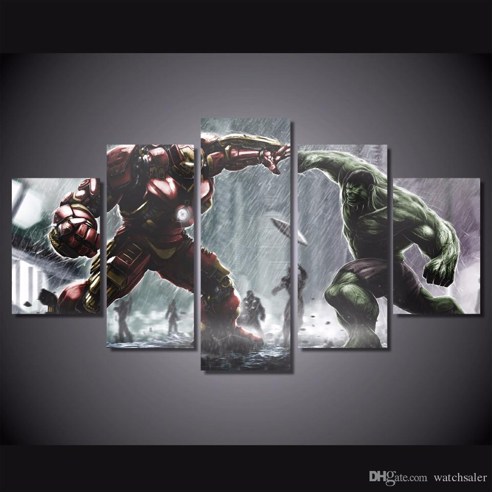 5 Pcs/Set HD Printed ironman vs hulk Comics Painting Canvas Print room decor print poster picture cheap modern canvas art