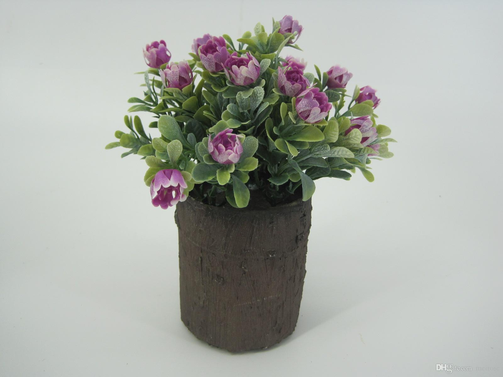 Mini Piante Artificiali con Rosa Selvatica in Legno Imitato Rotondo Pentole Tavolo Piante in vaso da fiori Garden Office Home Decor125-1044