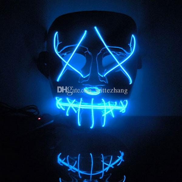 New Year Flash El Wire Led Glowing Beauty Christmas Party Mask ...