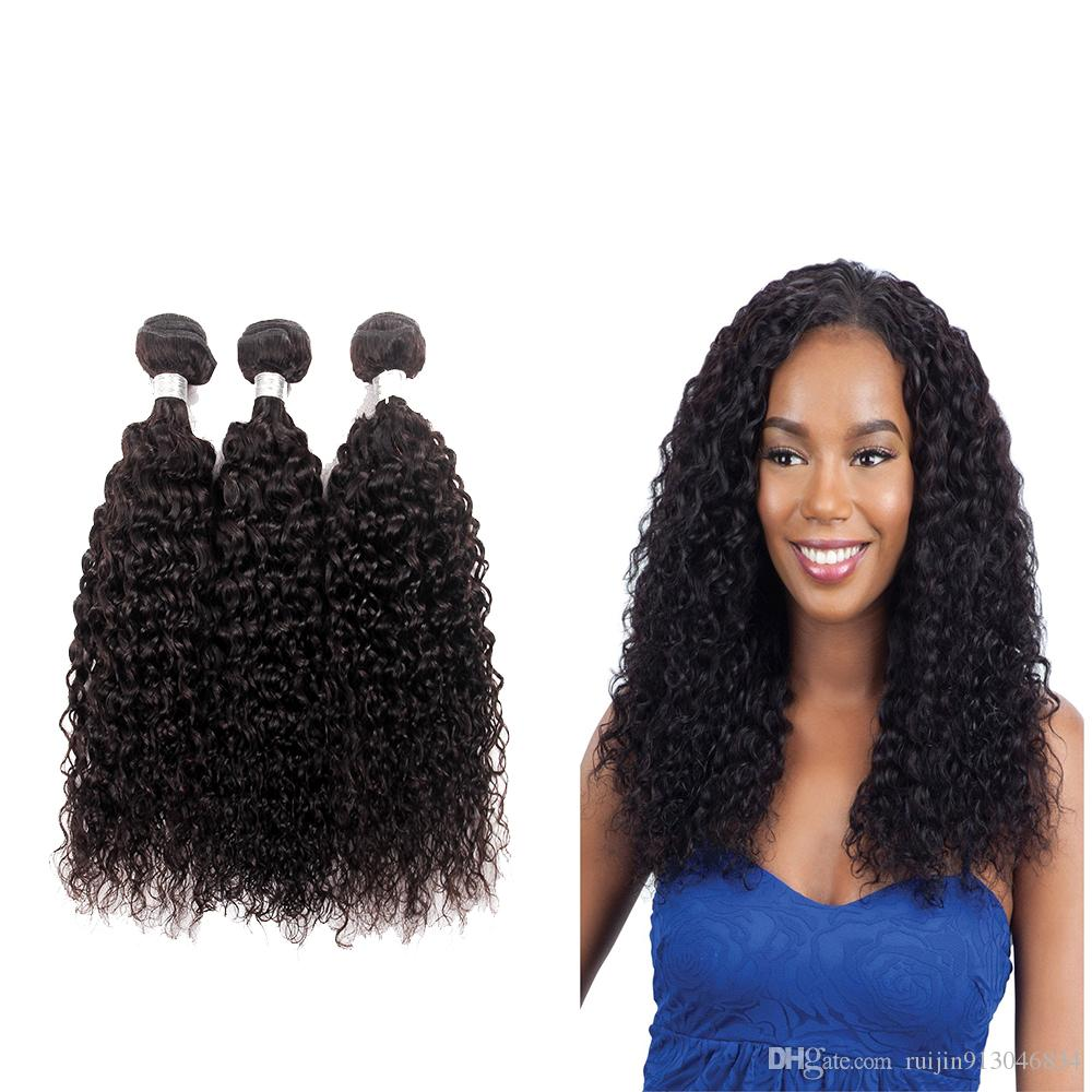 7a Grade Afro Kinky Curly Weave Human Hair Bundles Brazilian Hair Extensions 3 Or 4 Piece 10 28 Remy Hair Bundles Natural Color