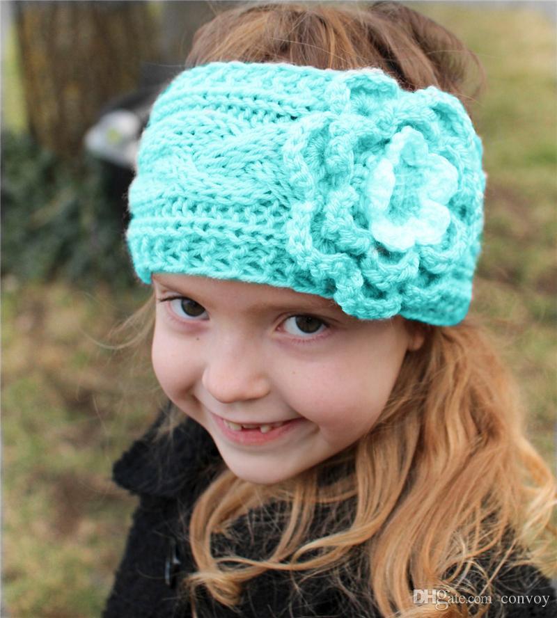 Mädchen-Kinderwinter-große Wollhäkelarbeit-Stirnbänder blüht für Baby-europäische Art-Ohr-Wärmer-Kinder umsponnene Kopfbögen Baby-Mützen-Kappe KHA518