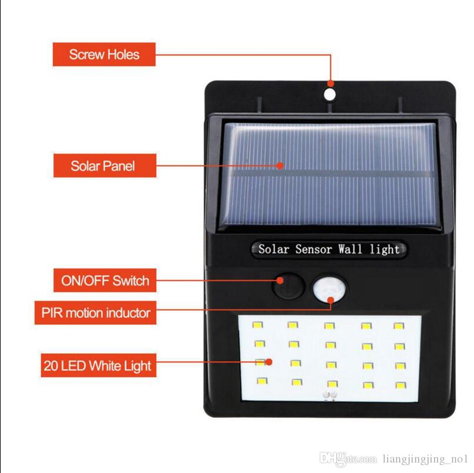 20 LED солнечной энергии пятно света Датчик движения Открытый Сад Свет стены безопасности Лампа водостоков OOA3130