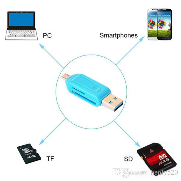 2016 الساخن بيع قارئ قارئ بطاقة الهاتف الجوال العالمي بطاقة PC مايكرو USB OTG قارئ بطاقة وتغ TF / SD ذاكرة فلاش epacket YM0125