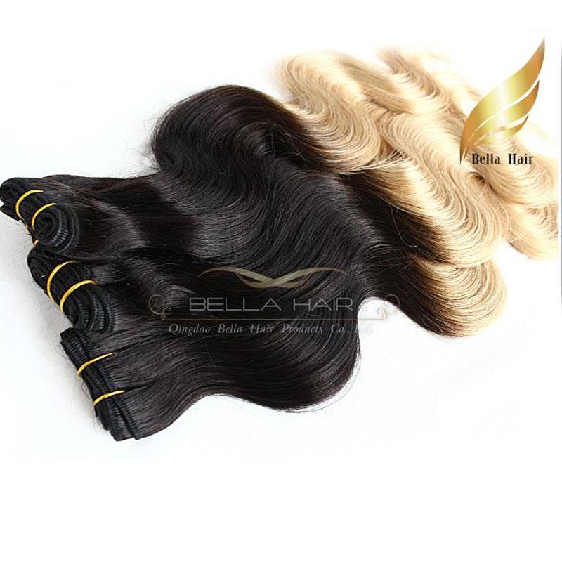 "8A Hair Weaves Ombre Human Hair Weaves Extensions Dip Dye Two Tone #T1B/#14""-26"" Peruvian Body Wave Bellahair"