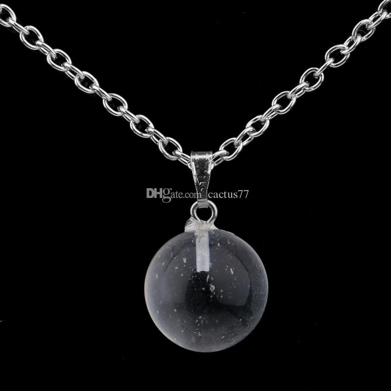 Hot Round Ball natural stone Necklace Pink Opal Crystal pendant Stainless Steel / Leather Chain Necklace Jewelry WOMEN MEN