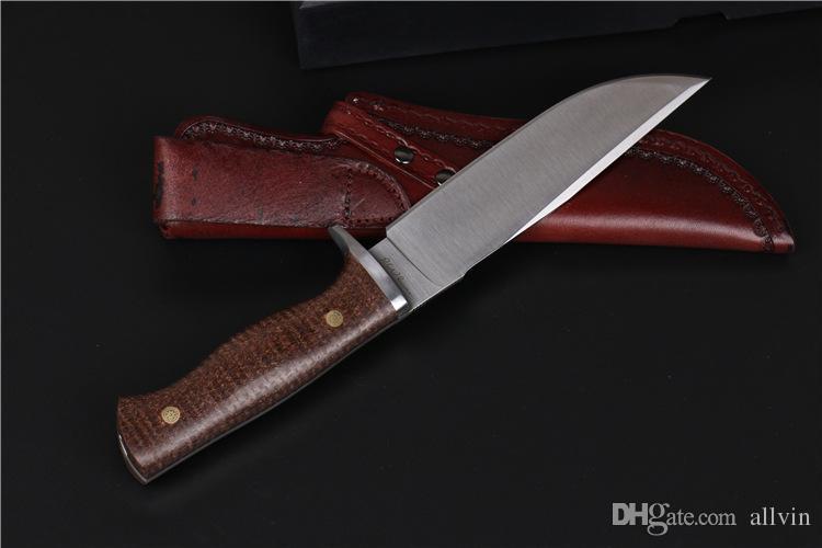 2016 neue LW D2 Stahlklinge Überleben Gerade Messer 60HRC Drop Point Satin Klinge Kohlefaser Griff Outdoor Camping Wandern Jagdmesser