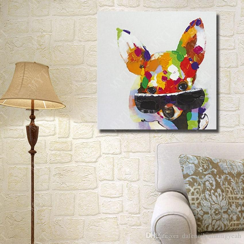 Handmade Oil Painting Animal Pop Art Home Decor Living Room Wall Pictures Wall Art Decorative Glasses Dog Oil Painting