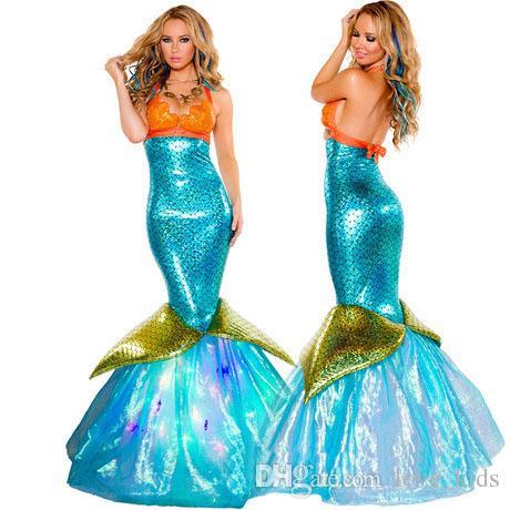Frauen Sexy Meerjungfrau Cosplay Bühne Kleidung Halloween Kostüm Adult Karneval Fantasia Fancy Party verkleiden sich für Lady Frau große Mädchen