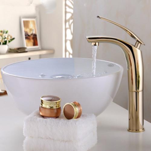 Colore creativo pieno di rame, acqua calda e fredda, rubinetto del bacino del palco lavandini bagno rubinetto